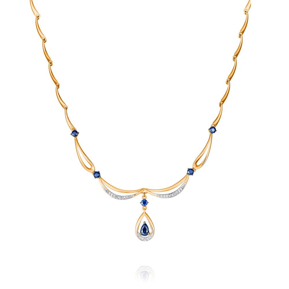 Купить Шейное украшение из красного золота 585 пробы с бриллиантом, сапфиром, SOKOLOV, Красный, Для женщин, 8454650/01-А50Д-432