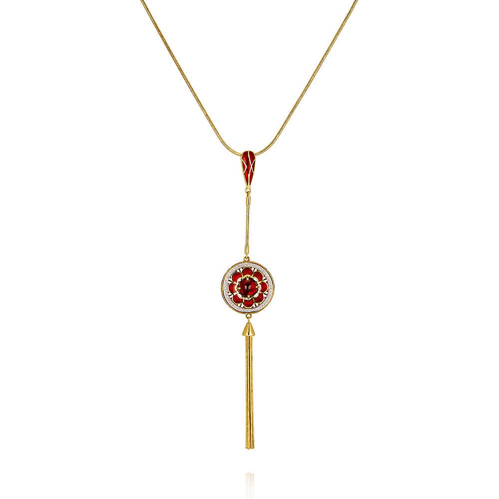 Купить Шейное украшение из желтого золота 585 пробы с бриллиантом, гранатом, Другие, Желтый, Для женщин, 8455422/01-А55Д-435