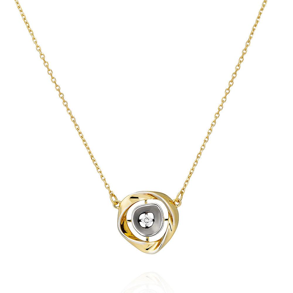 Купить Шейное украшение из желтого золота 585 пробы с бриллиантом, Другие, Желтый, 8456229/01-А55Д-41