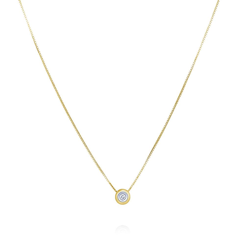 Купить со скидкой Шейное украшение из желтого золота 585 пробы с бриллиантом