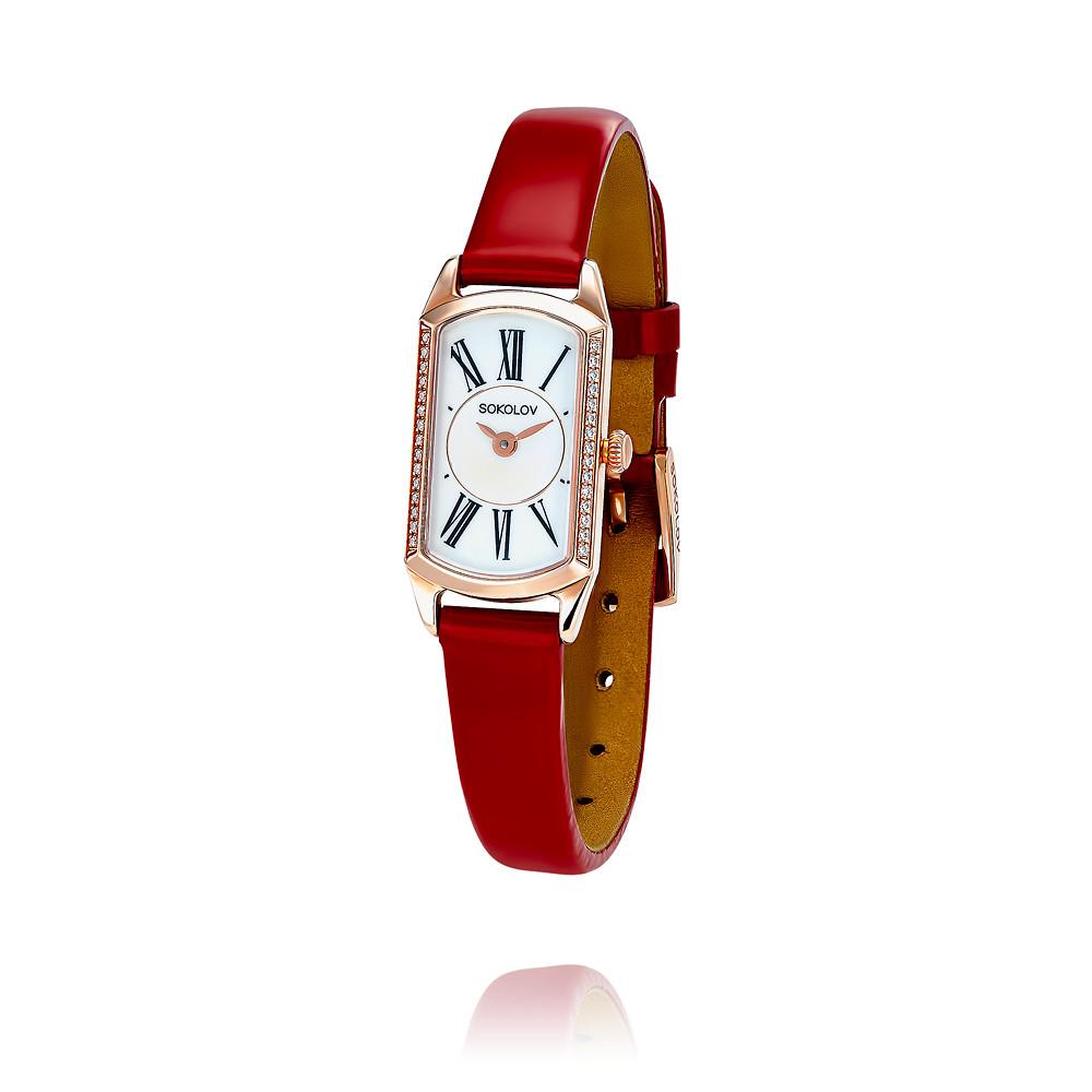 Купить со скидкой Часы из красного золота 585 пробы с фианитом